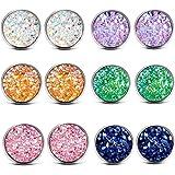 ATIMIGO Stainless Steel Druzy Stud Earrings Set for Girls Women Hypoallergenic Pierced Earrings (6 pairs)