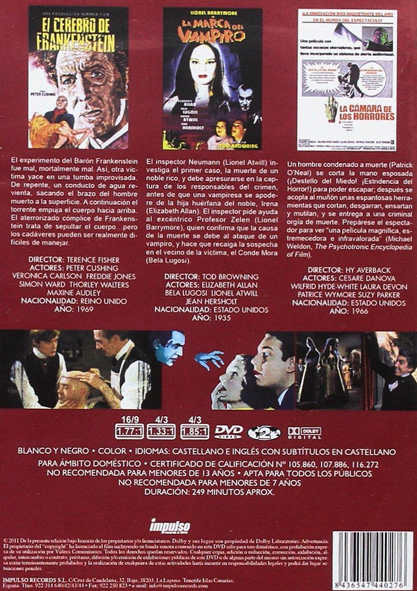 Amazon.com: El Cerebro de Frankenstein + La Marca del Vampiro + La cámara de los horrores 3 DVD Frankenstein Must Be Destroyed + Mark of the Vampire + ...