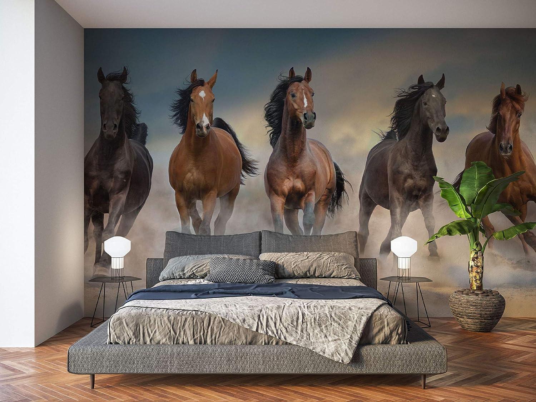 Oedim Fotomural Vinilo para Pared Manada Caballos | Mural | Fotomural Vinilo Decorativo | 200 x 150 cm | Decoración comedores, Salones, Habitaciones