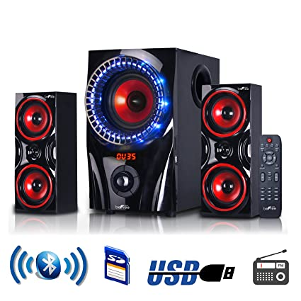 64ec2b2fbd4bb Amazon.com: beFree Sound 2.1 Channel Surround Sound Bluetooth Speaker  System in Red: Home Audio & Theater