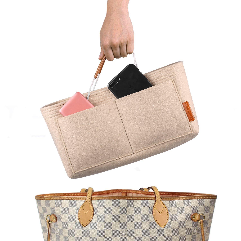 FOREGOER Felt Purse Insert Handbag Organizer Bag in Bag Organizer with Handles (Medium, Beige)