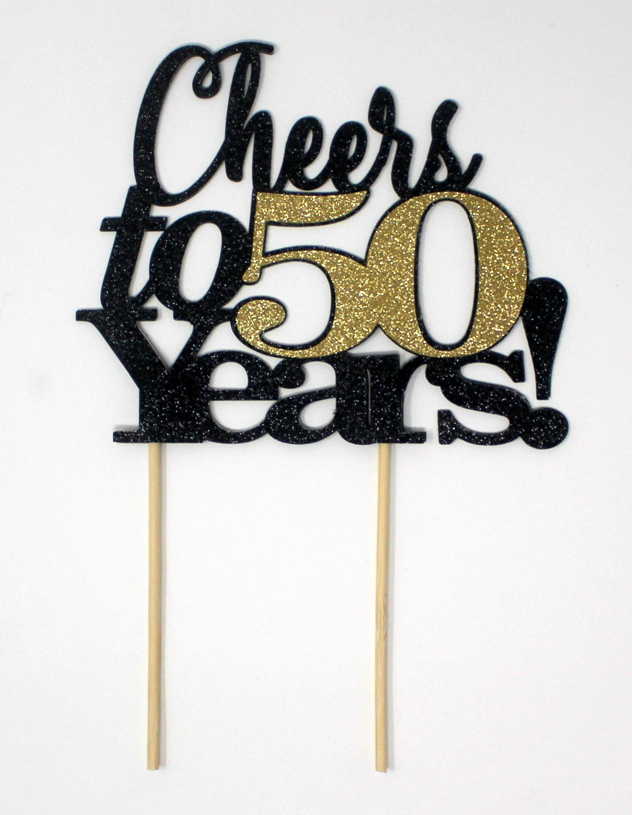 All About Details CATCT50 Cheers to 50 Years Cake Topper (Black and Gold), 4'' height (plus 4'' wood stick handles) and up to 6'' width