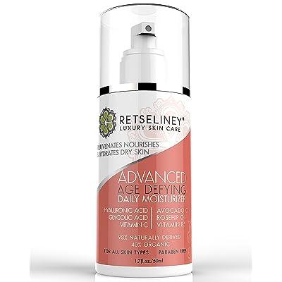 retseliney Age Defying humectante Crema para cara con Glycolic Acid &–ácido hialurónico y té verde, natural y orgánico anti envejecimiento, anti arrugas Loción, reduce