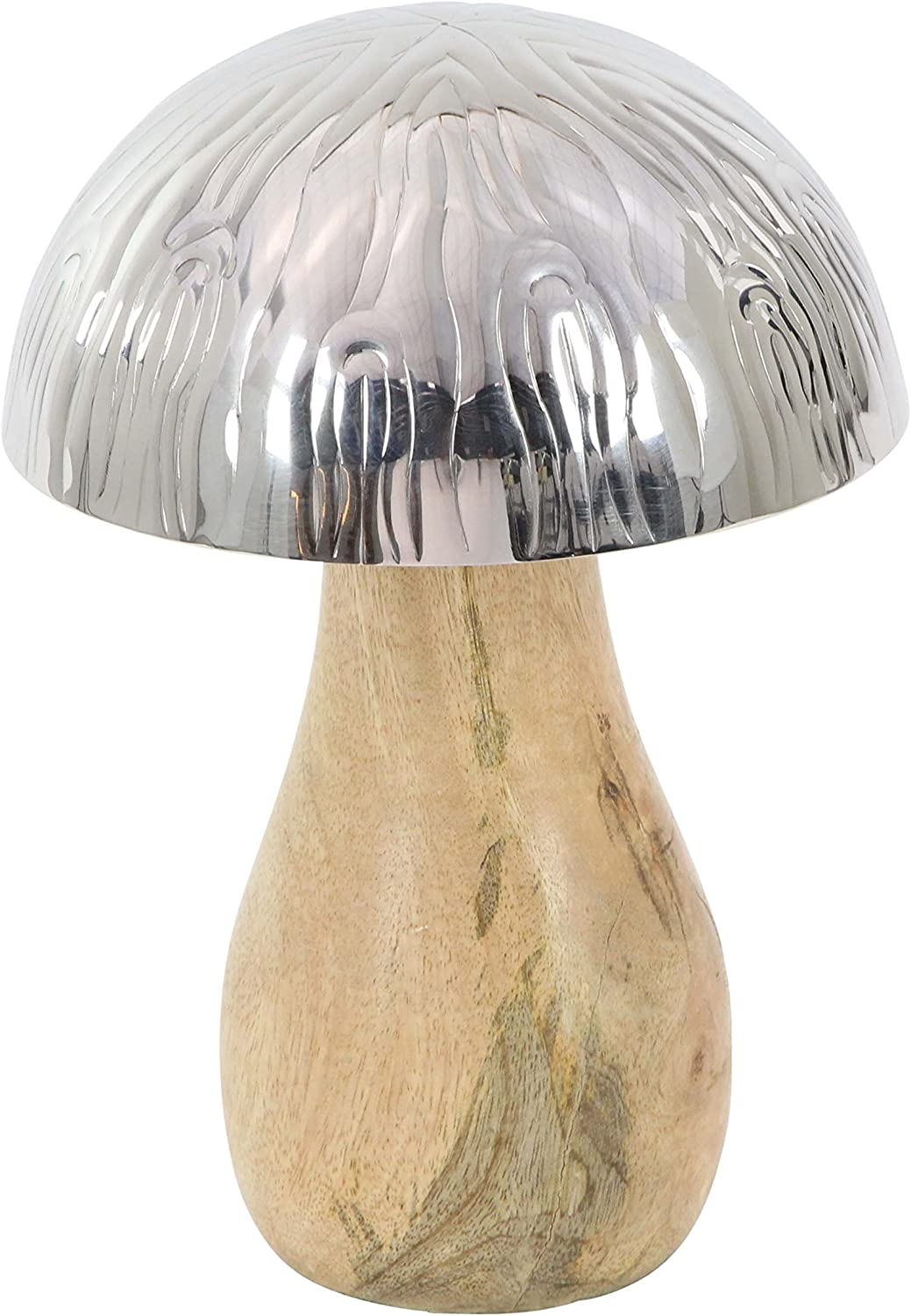 "Deco 79 90896 Wood and Metal Decorative Mushroom Sculpture, 8"" x 6"", Brown/Silver"