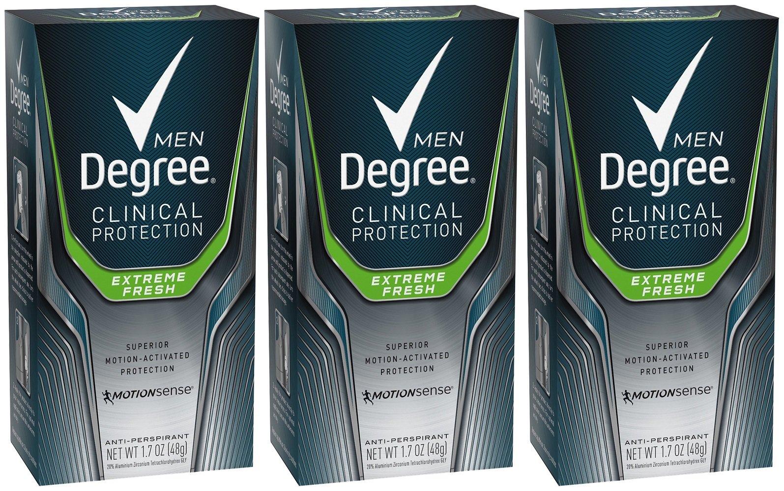 Degree Men Clinical+ Antiperspirant & Deodorant, Extreme Fresh 1.7 oz (Pack of 3)
