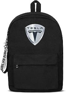 School College Black Bookbag with Pencil Case Tesla-Logo- Cool Travel Laptop Canvas Backpacks