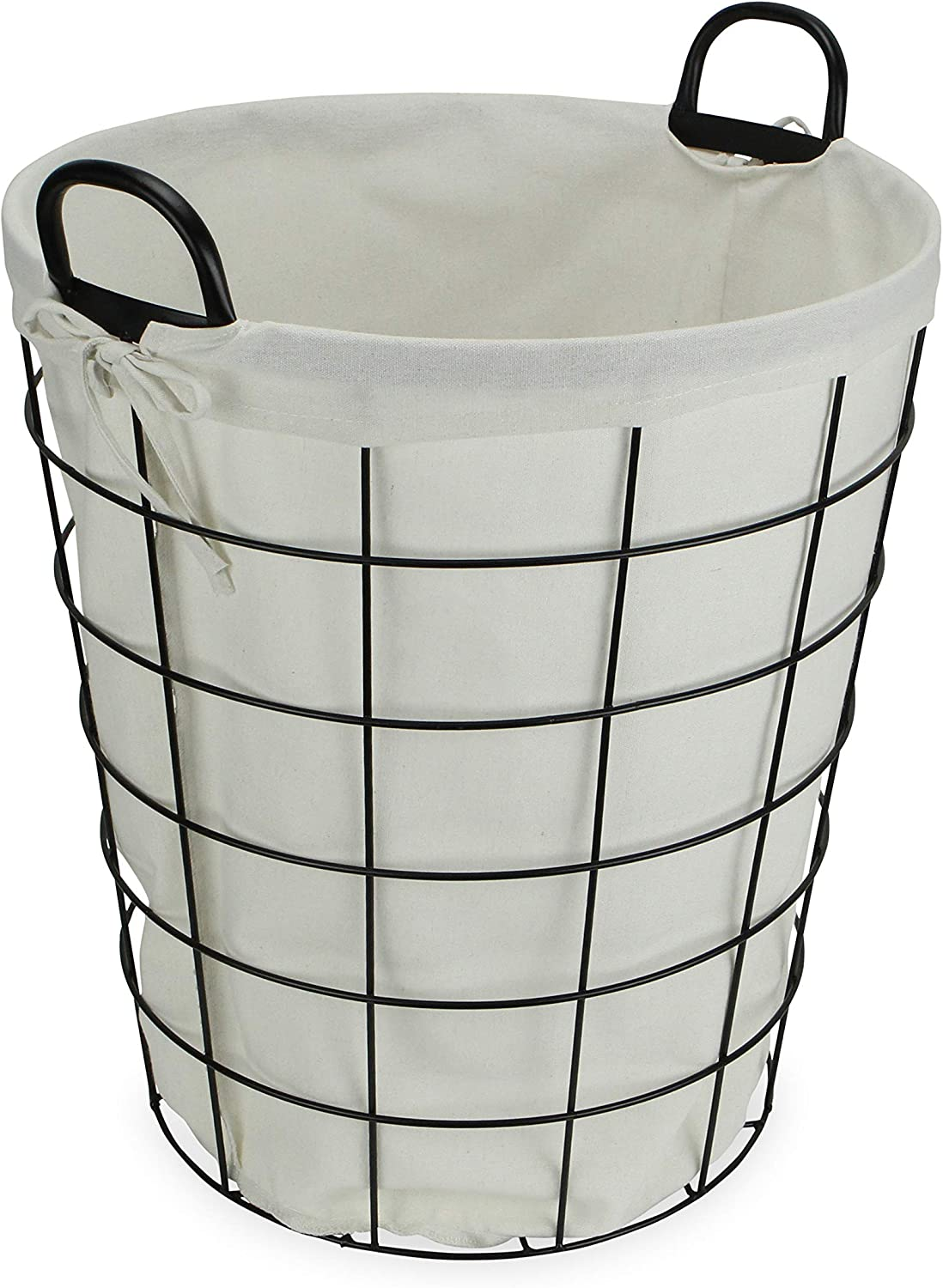 Cheung's 16S005 Lined Metal Wire Basket with handles, Black