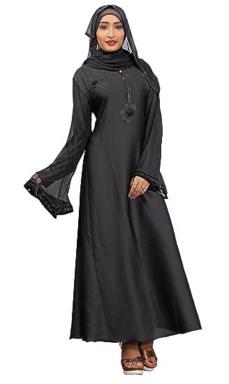 9aeca8406edb Justkartit Women's Plain Nida Abaya Burka (JK4735, Black, Chest Size 42'' ,  Length 56 Inch): Amazon.in: Clothing & Accessories
