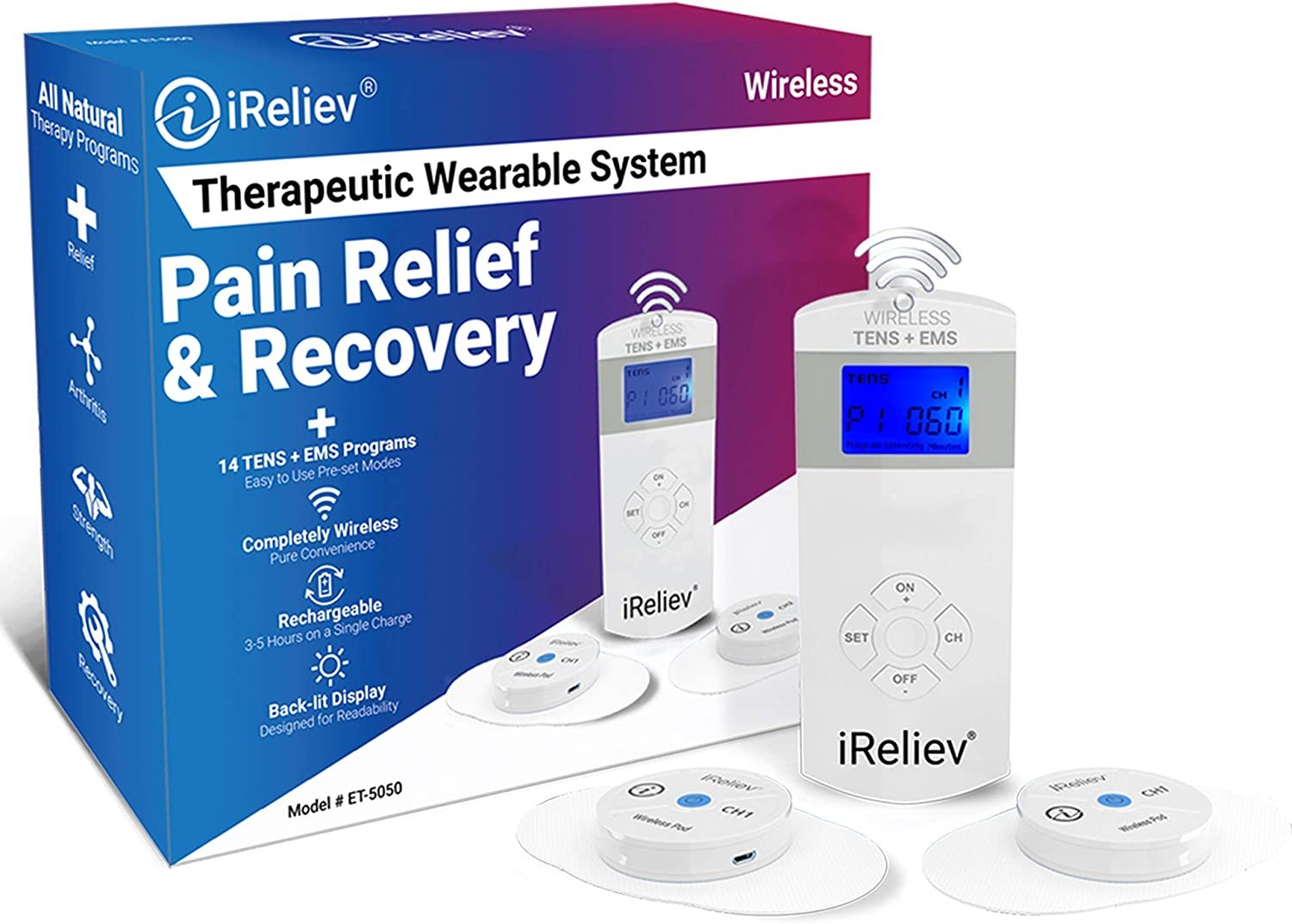 iReliev Wireless TENS + EMS Therapeutic Wearable System Wireless TENS Unit + Muscle Stimulator Combination for Pain Relief, Arthritis, Muscle Conditioning, Muscle Strength: Health & Personal Care