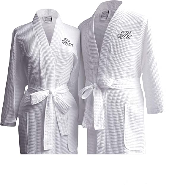 Plus Size Robes 2XXL Robes RUSH Ship Included: PERSONALIZED Large Unisex Waffle Weave Bath Robe in Black or White Monogrammed Bath Robes