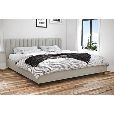 Novogratz Brittany Upholstered Platform Bed Frame, Grey Linen, King