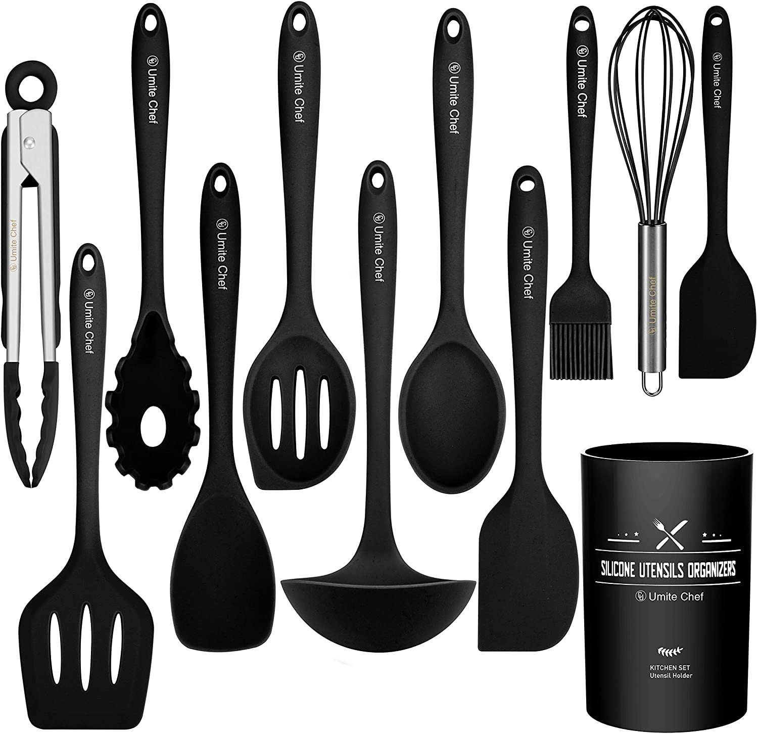 Amazon Com Kitchen Utensil Set 12 Pieces Cooking Utensils Silicone Umite Chef Nonstick Cookware With Spatula Colored Best Tools Gadgets Crock Black Dining