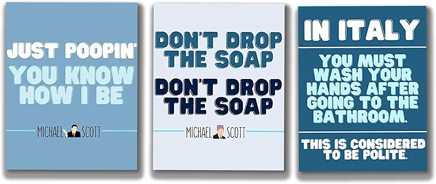 Cool TV Props - Michael Scott Bathroom Set of 3 11x14 Inch Prints - The Office TV Show Poster - The Office Merchandise