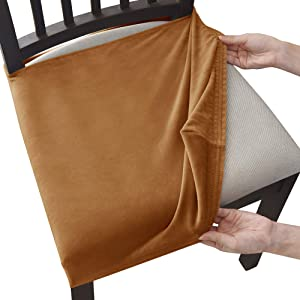 Milaran Velvet Dining Chair Seat Slipcover, Soft Stretch Chair Cushion Cover for Dining Room, Kitchen, Washable Removable Chair Seat Protector for Home Décor, Banquet, Ceremony, 4 Pcs,Coffee