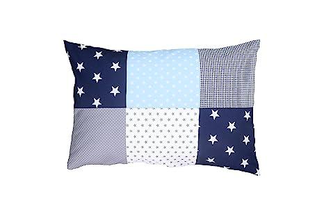 Funda de almohada para bebé de ULLENBOOM ® de 40 x 60 cm con azul claro azul gris (con cremallera; apta también para cojines decorativos; ...