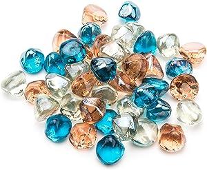 Li Decor 10 Pound Fire Glass Diamonds 1 Inch Fire Pit Glass Fire Glass Rocks for Gas Fireplace Blended Margarita Azure Blue,Pink,Crystal Luster
