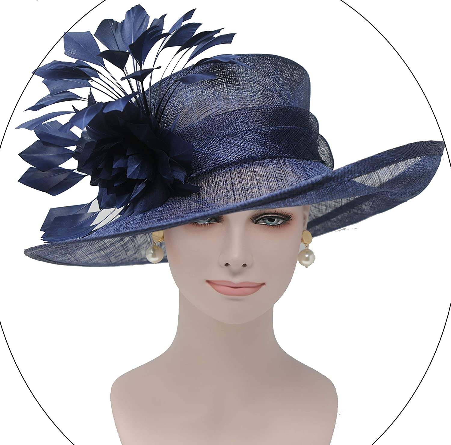 014ca4c09 ray&danile Wide Brim Sinamay hat with Feather Flowers, Navy Blue ...