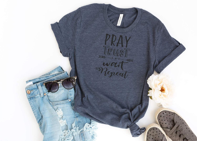 3622f306f Amazon.com: Pray Trust Wait Repeat, Ladies T Shirt, Arrow T Shirt,  Christian Faith, Faith Tee, Women's Tee, Spiritual T Shirt: Handmade