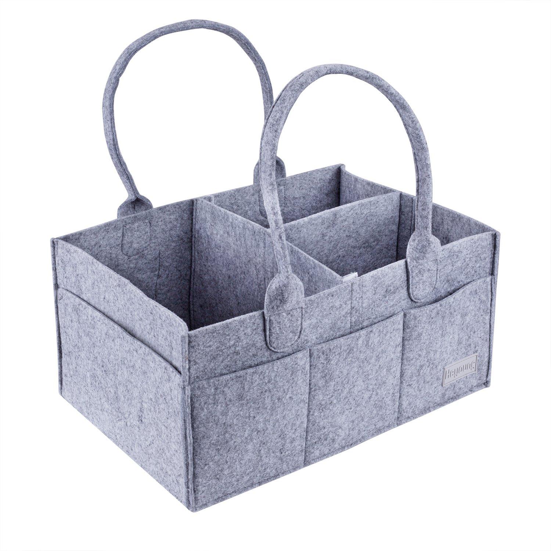Baby Diaper Caddy Organizer|Nursery Diaper Tote Bag|Portable Travel Car Organizer|Diaper Storage Bin for Changing Table|Baby Shower Gift Basket|Newborn Registry Must Haves(Grey)