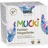 Mucki 2318 - Funkel Fingerfarbe, von Kreul, dermatologisch Getestet, glutenfrei, parabenfrei, Vegan, auswaschbar 4er Set (4 x 150 ml)