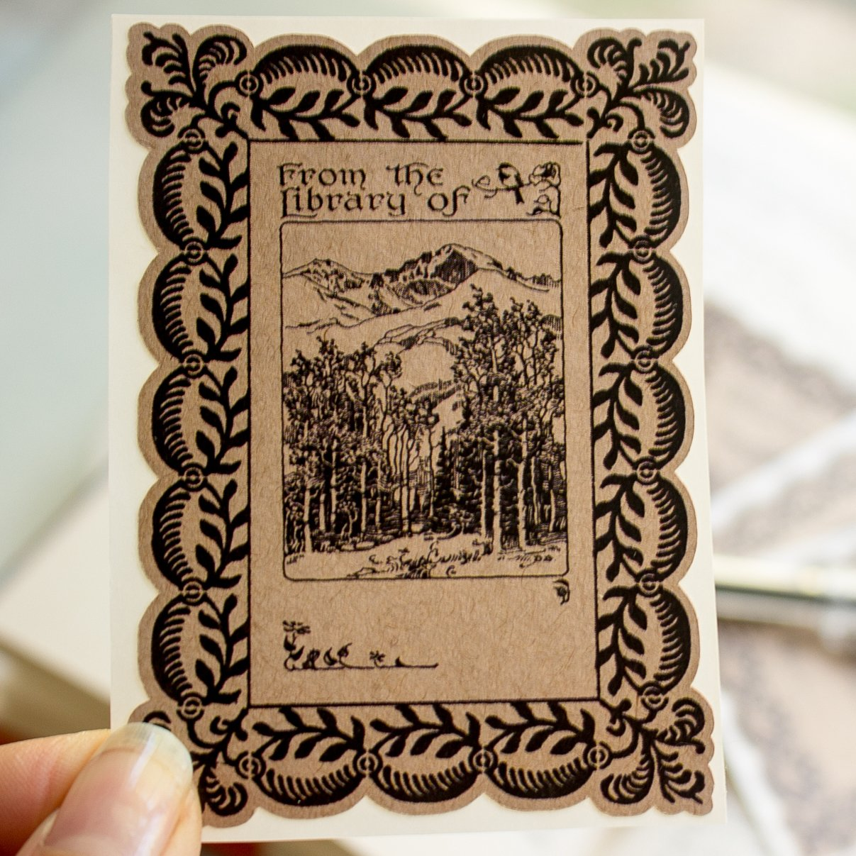 Mountain Forest Bookplate Stickers personalized gift book label set of twenty