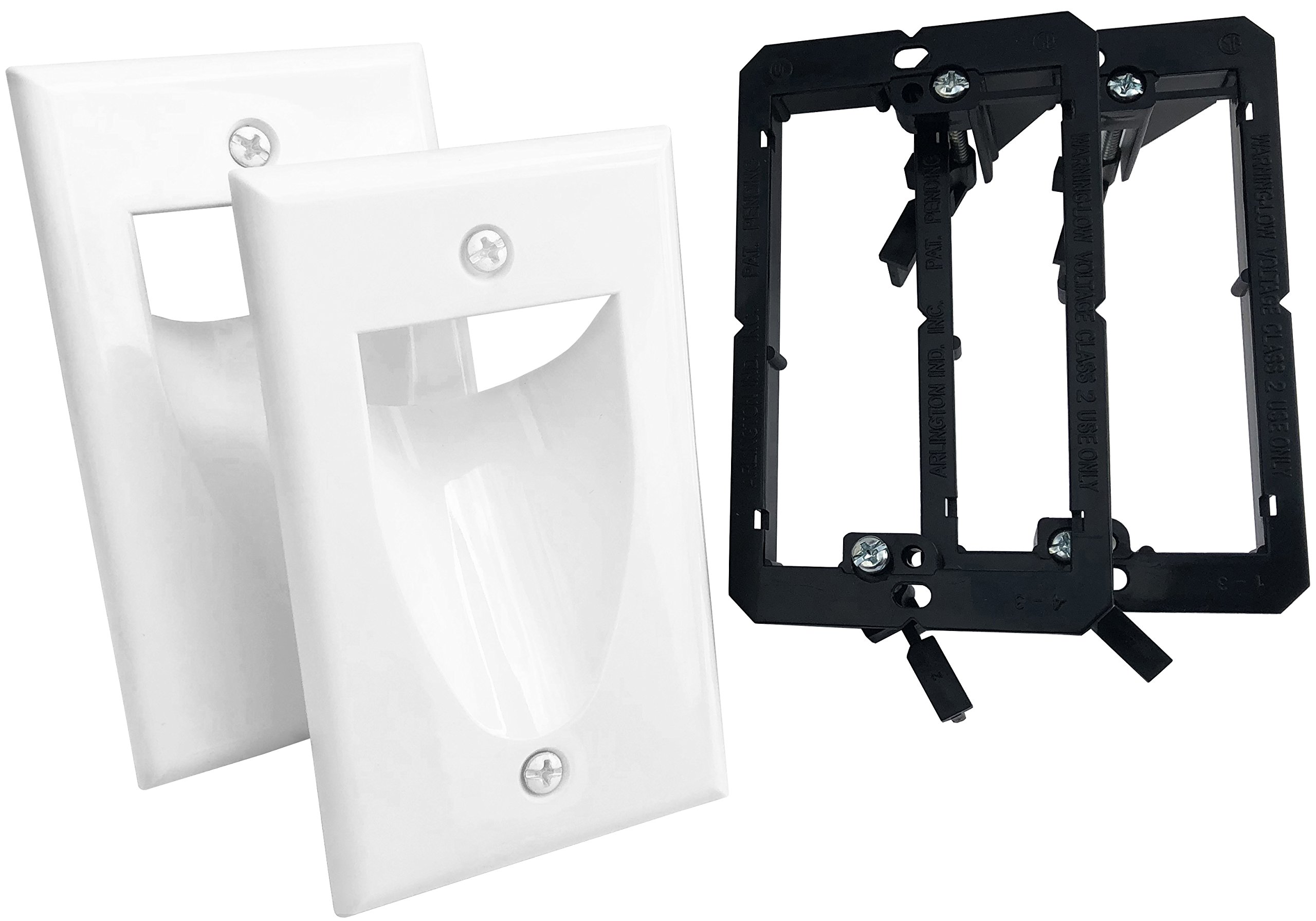 KCC Industries 1-Gang Recessed Low Voltage Cable Plate with Mounting Bracket (2-Pack, White)