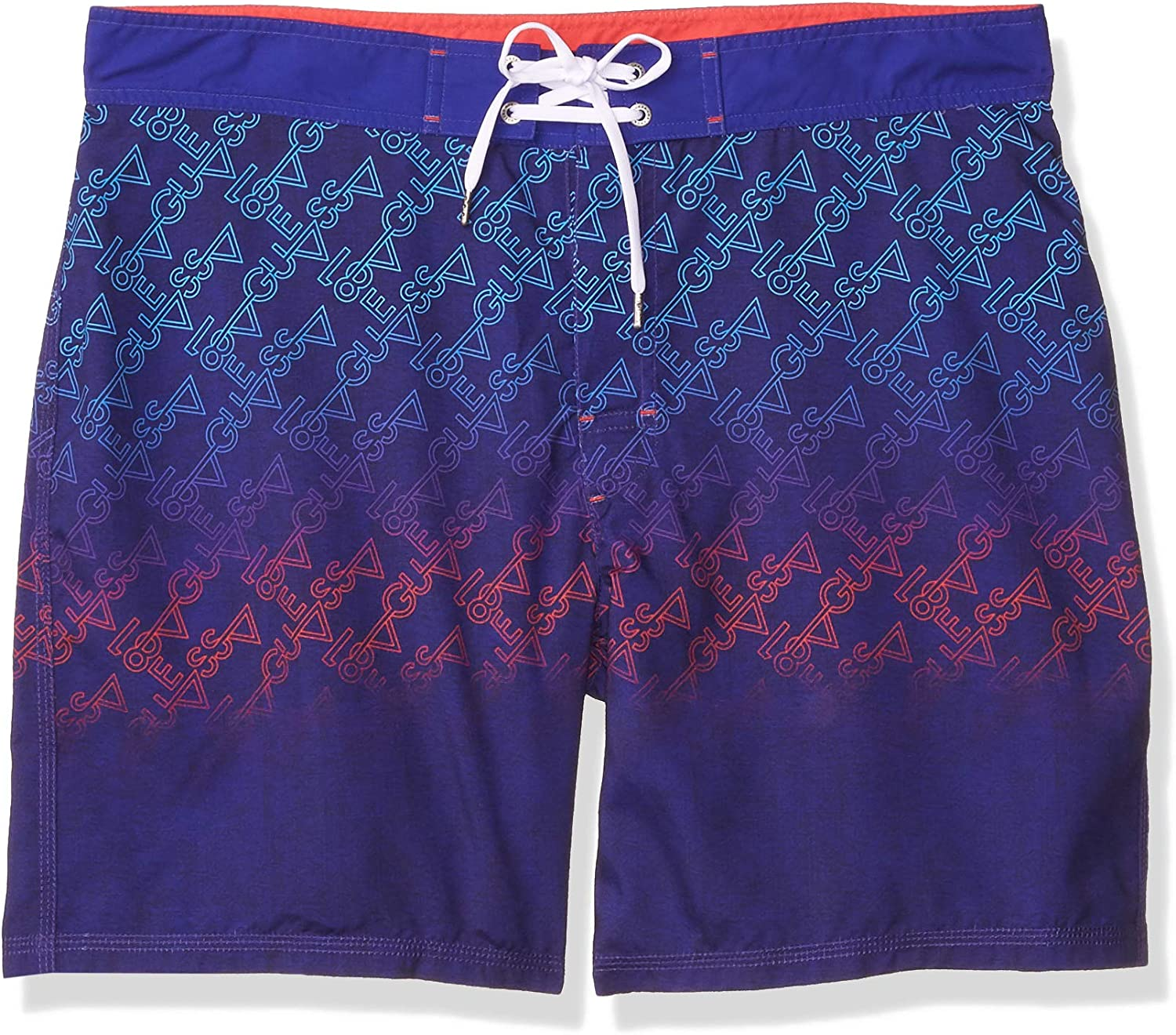 "GUESS Men's Printed 18"" Fixed Waist Swim Trunk"