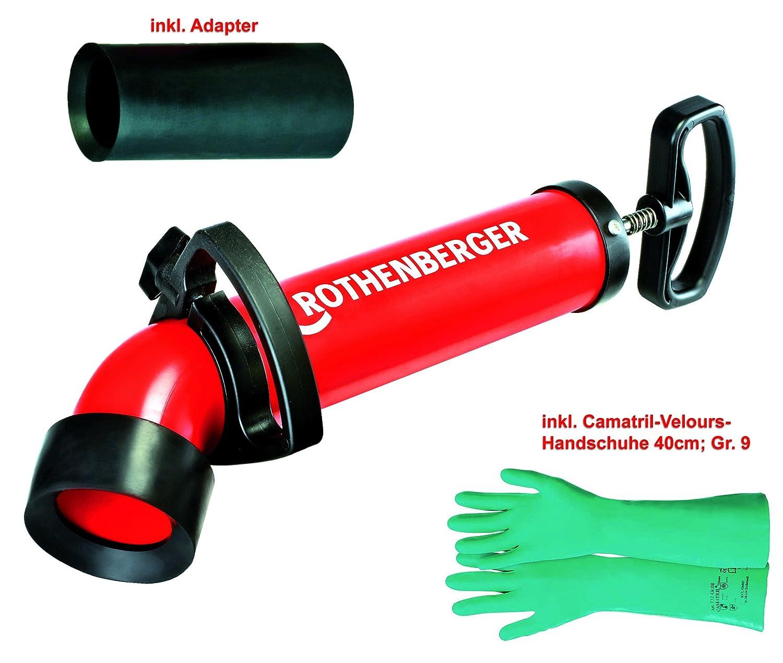 Rothenberger Ropump Super Plus (072070X) Saug-Druckreiniger mit 2 Adaptern (1xlang + 1xkurz) und 1 Paar Camatril-Velours Schutzhandschuhen 40cm lang, Grö ß e 9
