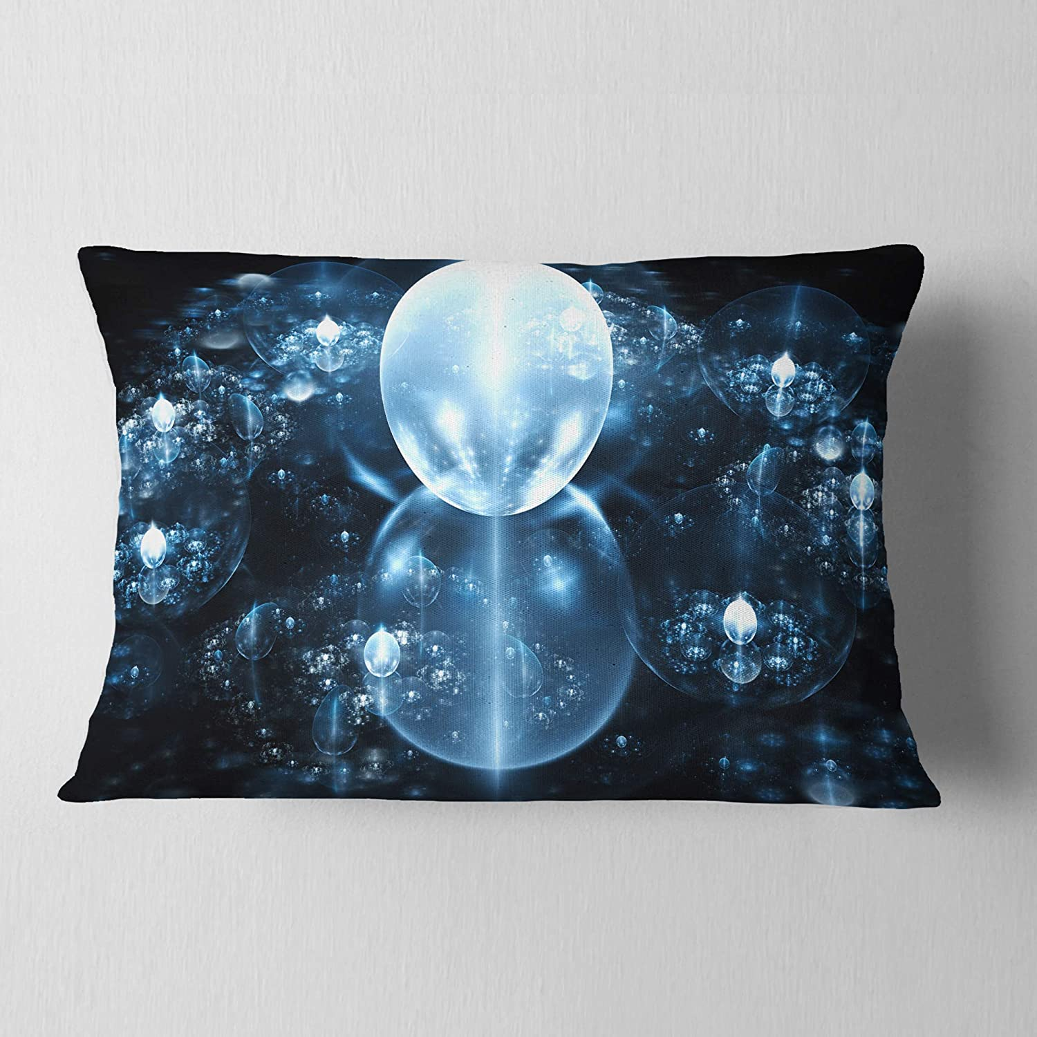 Sofa Throw Pillow 12 in x 20 in Insert Printed On Both Side Designart CU16117-12-20 Blue Water Drops on Mirror Abstract Lumbar Cushion Cover for Living Room in