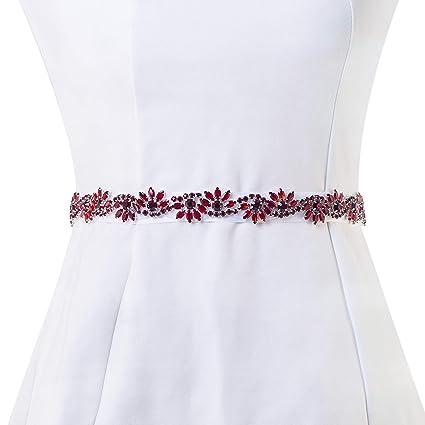 66dabf989c Bridal Applique, FANGZHIDI Pure handmade 1 Yard Rhinestone Applique for  Wedding Belt Sash, Bonus a 100 Inches Ivory Stain Ribbon Separately (026-  Red)