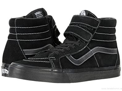 2b8851d0080ab1 Image Unavailable. Image not available for. Color  Vans Sk8-Hi V (White  Stitch) Suede Black Men s 11.5