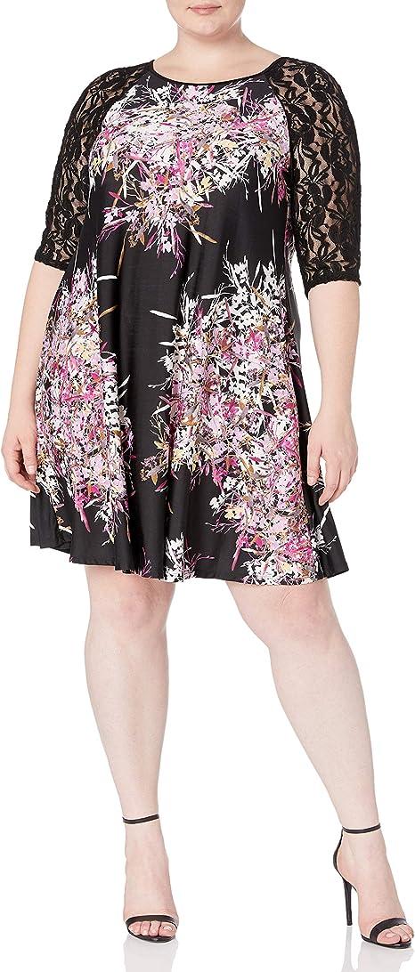 Julian Taylor Women\'s Plus Size 3/4 Lace Sleeve Trapeze Dress