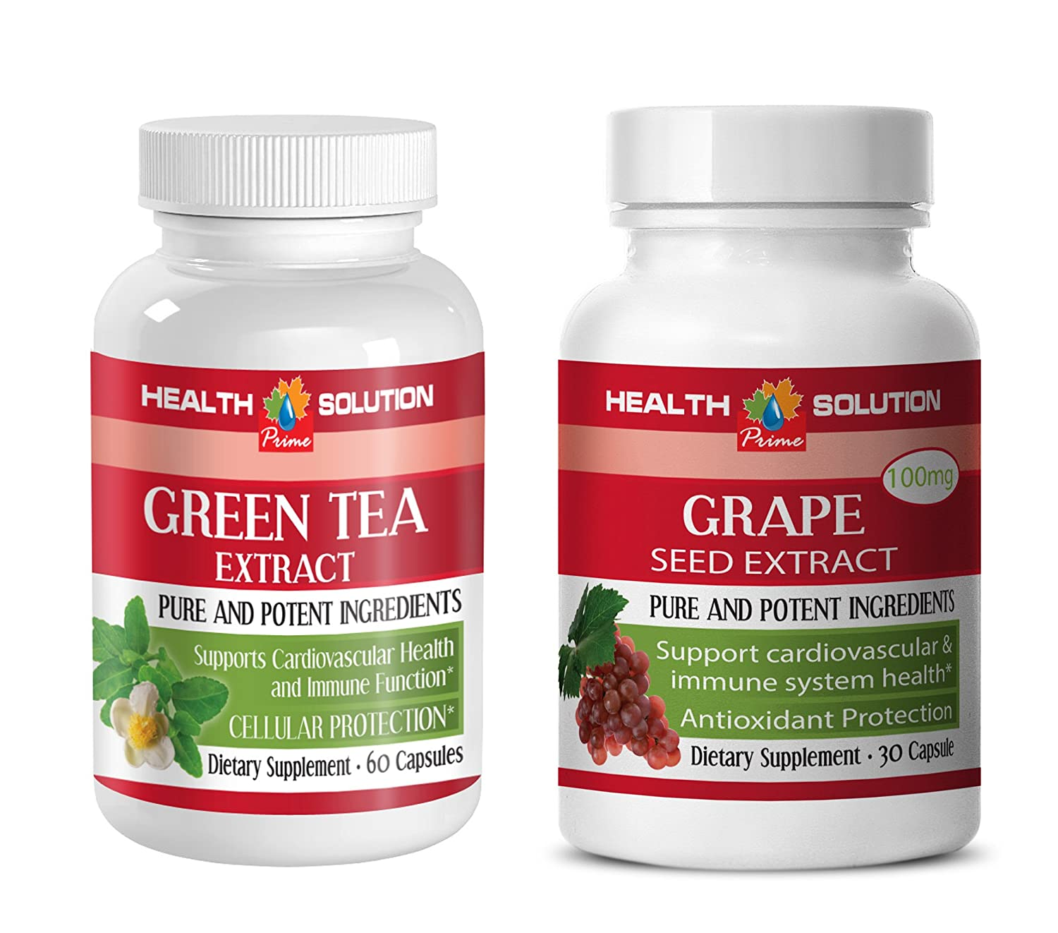 antioxidant formula - GREEN TEA - GRAPE SEED EXTRACT - grape seed and reservatrol - (2 Bottles Combo)