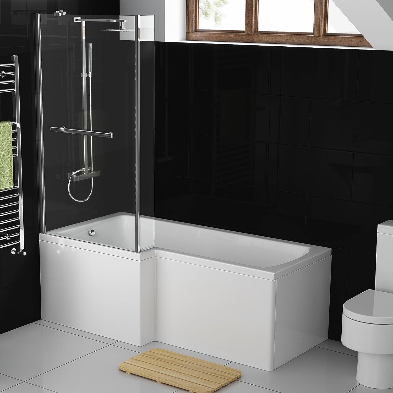 1700 mm en forma de la mano izquierda recta moderna ducha bañera con mampara de ducha: iBathUK: Amazon.es: Hogar