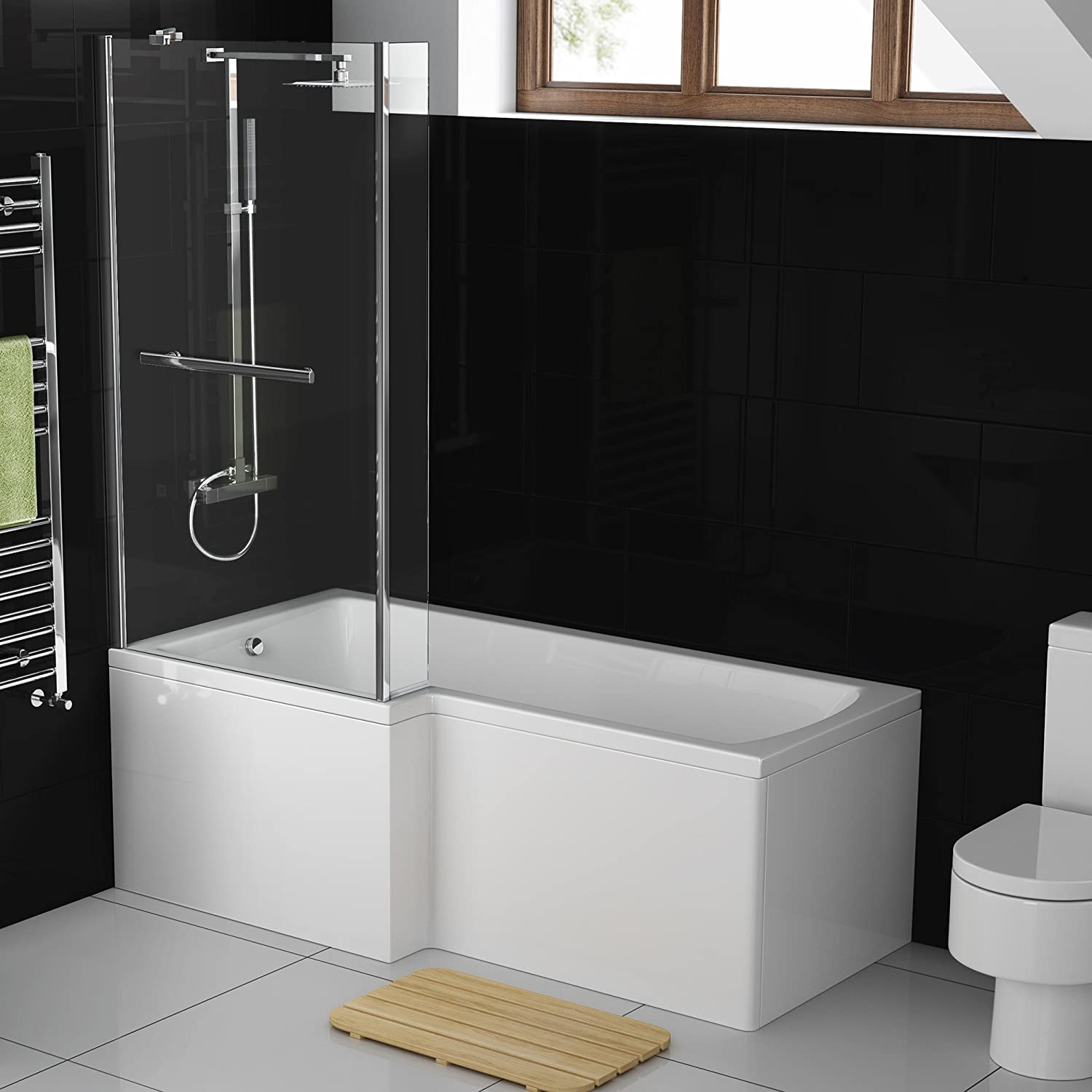 1500 mm Left Hand L-Shaped Modern Straight Shower Bath with Shower ...