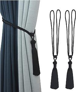 Porlau 2 Pack Handmade Curtain Tiebacks Rope Tassel Tie-Backs Holdbacks for Office Home Decorative Drapery Tiebacks- Black