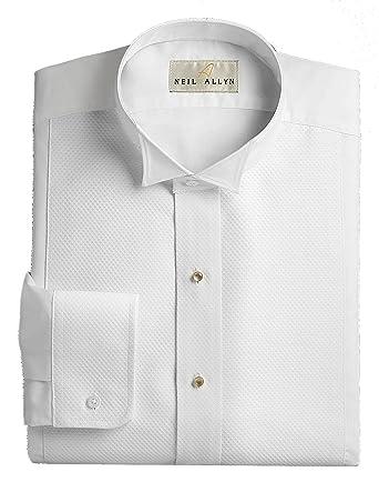 edcb429b2 Amazon.com: Neil Allyn Wing Collar Tuxedo Shirt, Pique Bib Front, 65%  Polyester 35% Cotton: Clothing