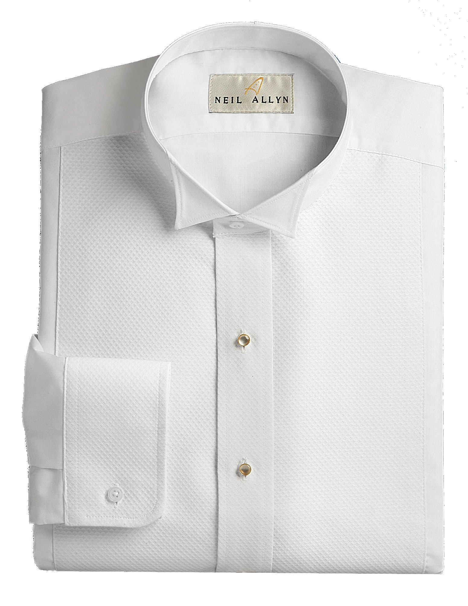 Wing Collar Tuxedo Shirt, Pique Bib Front, 65% Polyester 35% Cotton White (15.5 - 32/33)