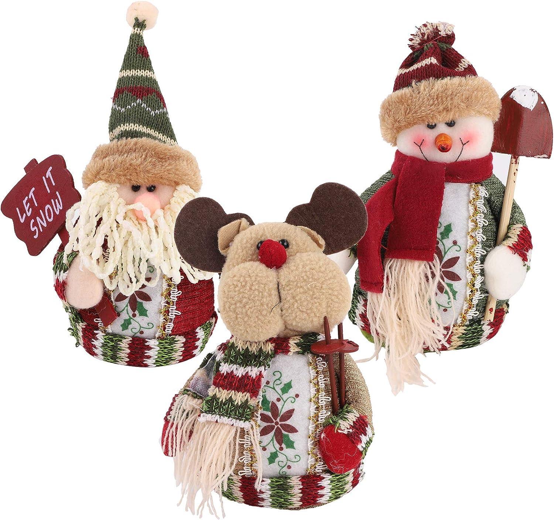 3 Piezas de Papá Noel Muñeco de Nieve Reno Sentado de Navidad Adorno de Navidad, Muñeco de Peluche Papá Noel para Mesa de Navidad, Escritorio, cChimenea Decoración Figurines de Navidad de Felpa