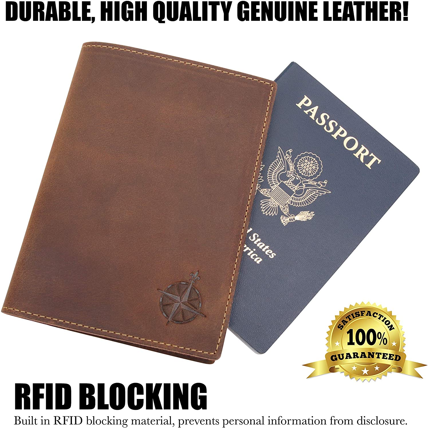 Leather Passport Holder Wallet Cover Case RFID Blocking Travel Wallet Photography Of Missile Silo Hole