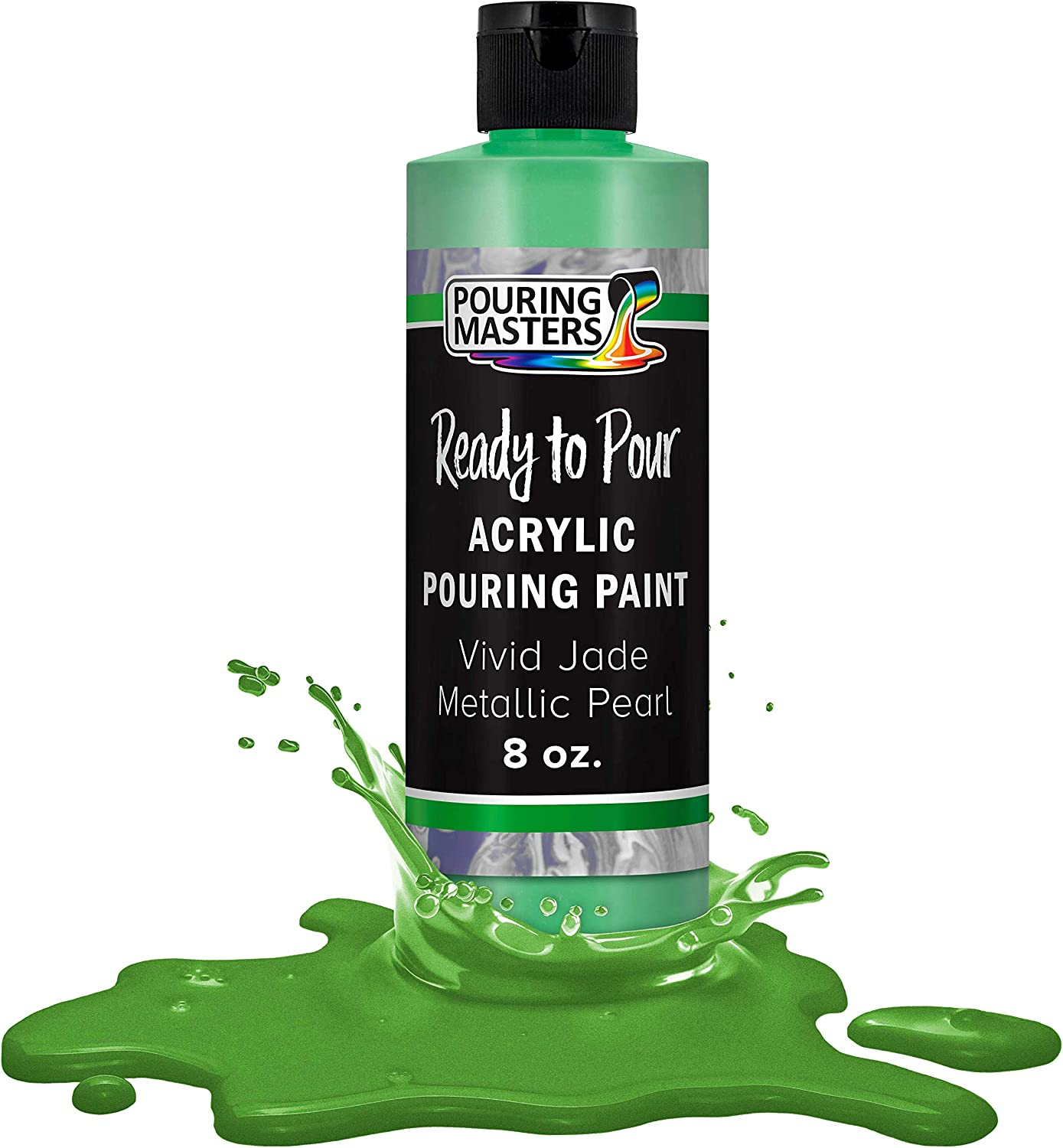 Pouring Masters Vivid Jade Metallic Pearl Acrylic Ready to Pour Pouring Paint – Premium 8-Ounce Pre-Mixed Water-Based - for Canvas, Wood, Paper, Crafts, Tile, Rocks and More