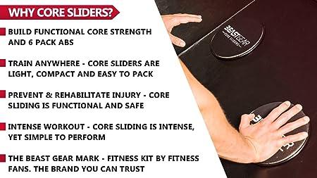 Beast Gear Core Sliders - Discos deslizantes de doble cara para ejercicios abdominales, alfombras y suelos duros