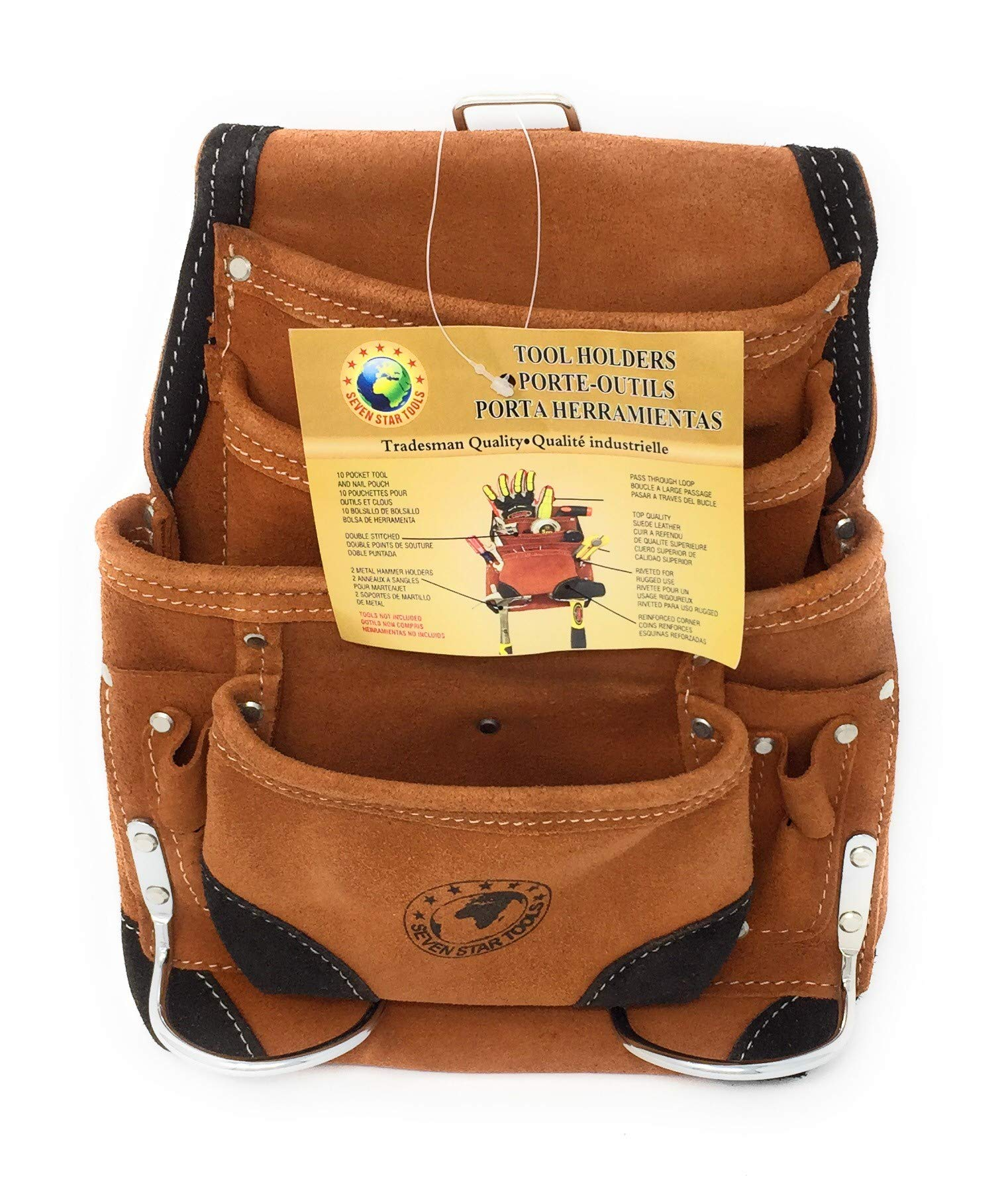 Seven Star Tools P-1200RC 10 Pocket Suede Leather Tool Pouch with Reinforced Corners and Tunnel Loop