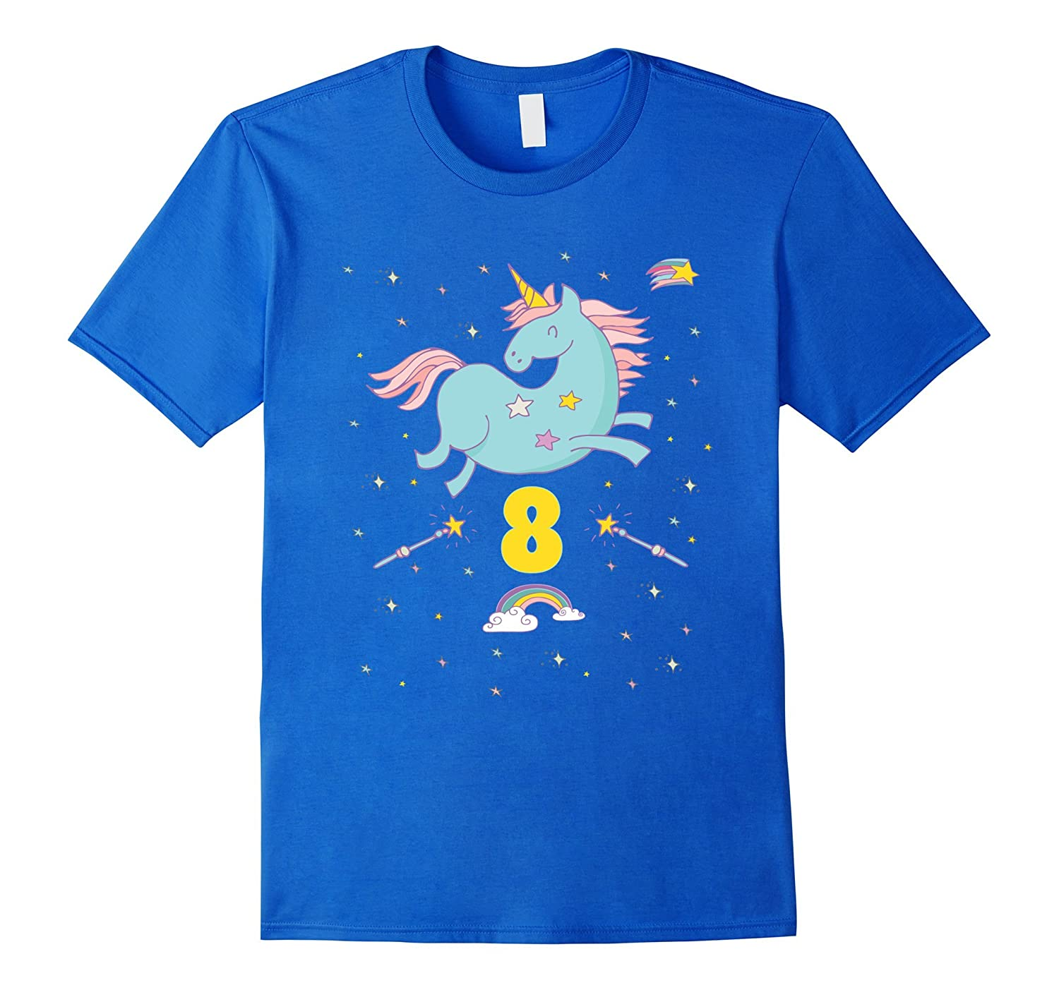 Unicorn Rainbow Birthday Shirt 8 Eight Year Old Girl Boy PJ TD