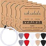 Nylon Ukulele Strings with Felt Ukulele Picks for Soprano (21 Inch)/ Concert (23 Inch)/ Tenor (26 Inch) Ukulele (5 Sets Strin