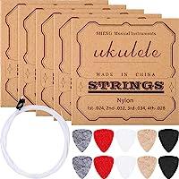 5 Sets of Nylon Ukulele Strings with 10 Felt Ukulele Picks for Soprano (21 Inch)/ Concert (23 Inch)/ Tenor (26 Inch) Ukulele