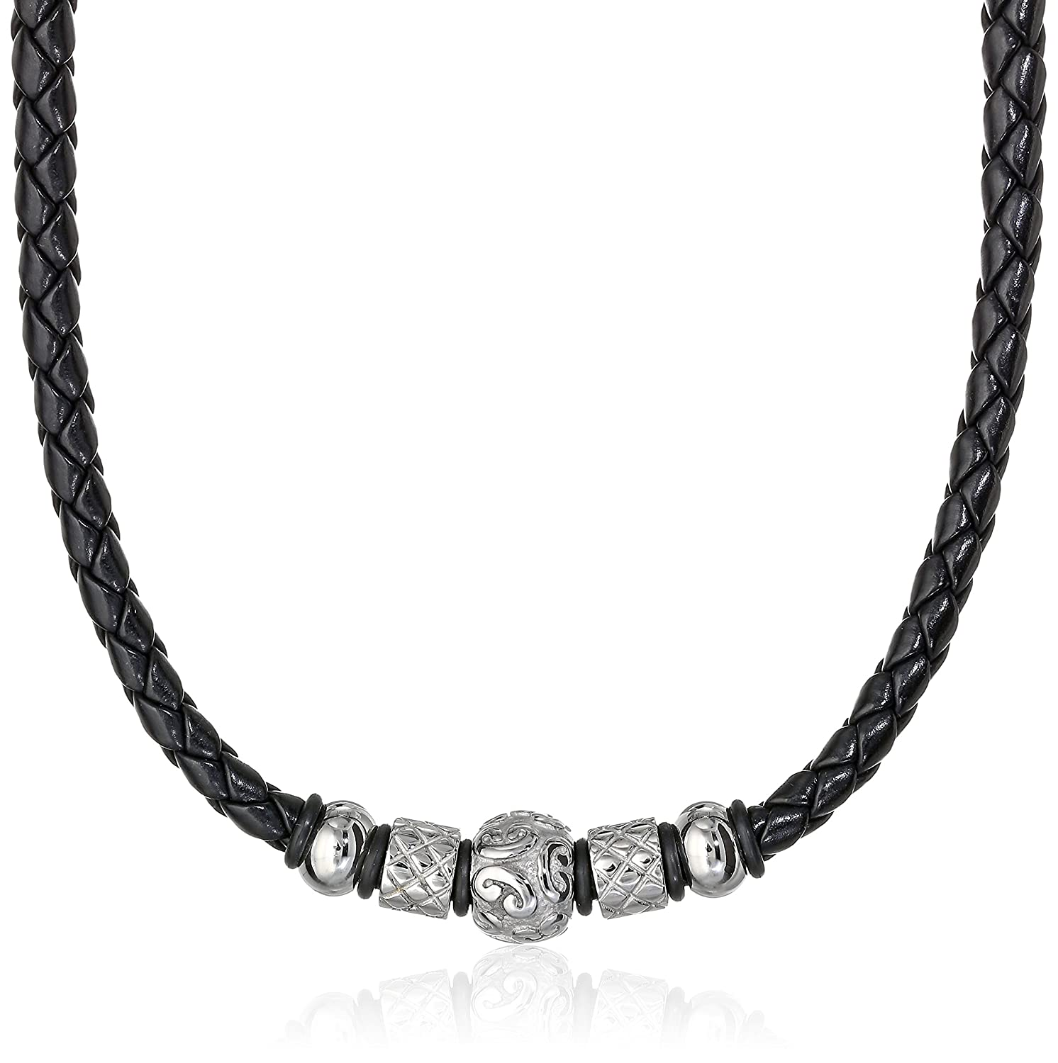 Cold Steel Men's Stainless Steel Tribal Bead Black Leather Necklace, 20