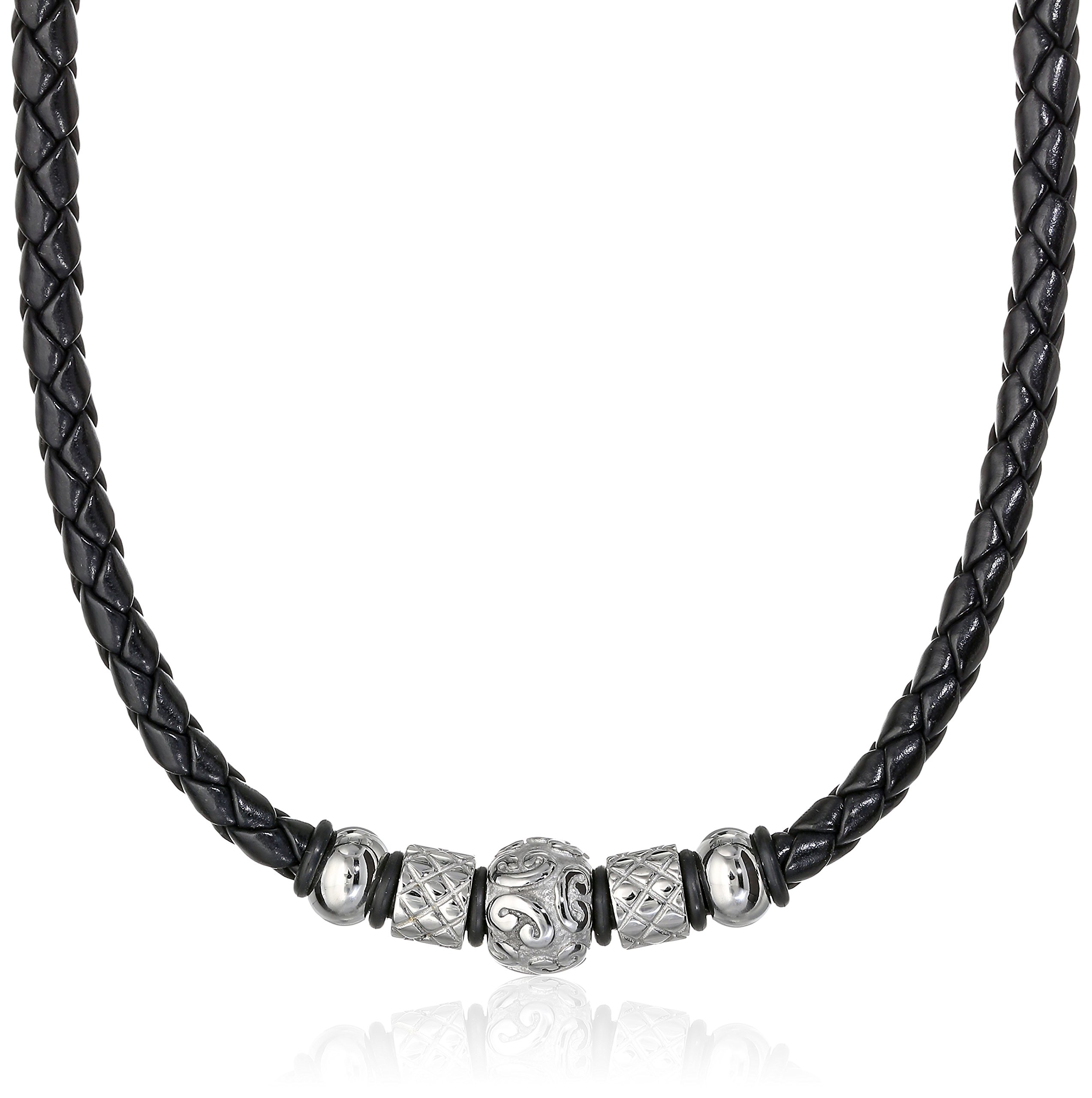 Cold Steel Men's Stainless Steel Tribal Bead Black Leather Necklace, 20''
