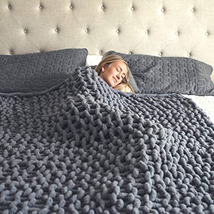 Chunky Knit Blanket – Super Soft Chunky Knit Throw Blanket for Bed (50x60) – Cozy Throw Blankets