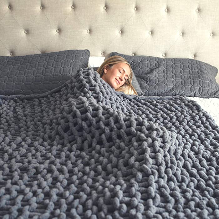Hearth & Crate Chunky Knit Blanket - Cozy Throw Blanket for Bed (50x60) - Soft Throw Blankets - Chunky Knit Chenille Throw Blanket - Blankets and Throws for Sofa - Large Throw Blanket (Slate Gray)